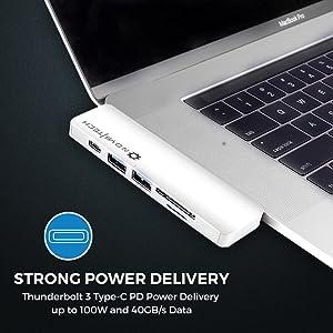 USB C Hub Type-C MacBook Pro Adapter 4K HDMI microSD/SD Thunderbolt Ethernet Mic/Audio Fast Charging