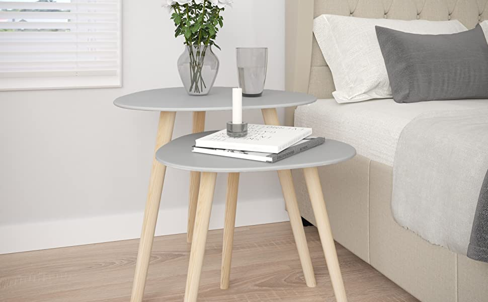 Contemporary Side Tables for Living Room Set of 2