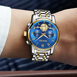 chronograph watch men olevs long battery classic