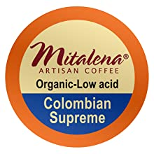 colombian supreme, single serve, coffee pods, organic, low acid, brew cups, mitalena