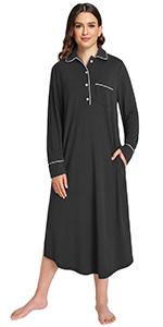 women cotton bamboo blend long sleeves nightgown warm sleepshirt button down nightshirt
