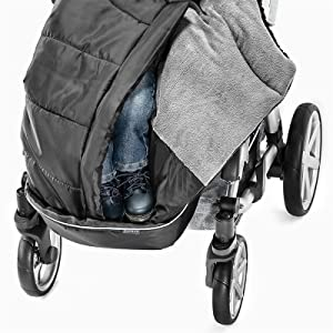 Zamboo Winter Fußsack Für Kinderwagen Sportwagen Buggy Mit Anti Rutschschutz Weicher Deluxe Thermo Fleece Mumien Kapuze Reflektorstreifen Tasche Schwarz Grau Baby