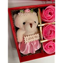 Gift Set Box Included (Teddy, 1/2 Dozen Scented Rose Buds & Jewelry Box w/ Necklace Pendant)