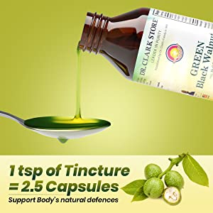 1 tsp of tincture = 2.5 capsules