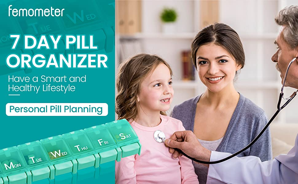 Femometer Weekly Pill Organizer - 7 Day Pill Planning