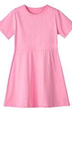 Toddler Girls Cotton T-Shirt Dress A-Line Skater Dresses