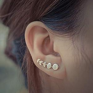 Moon Phase Ear Climber Earrings