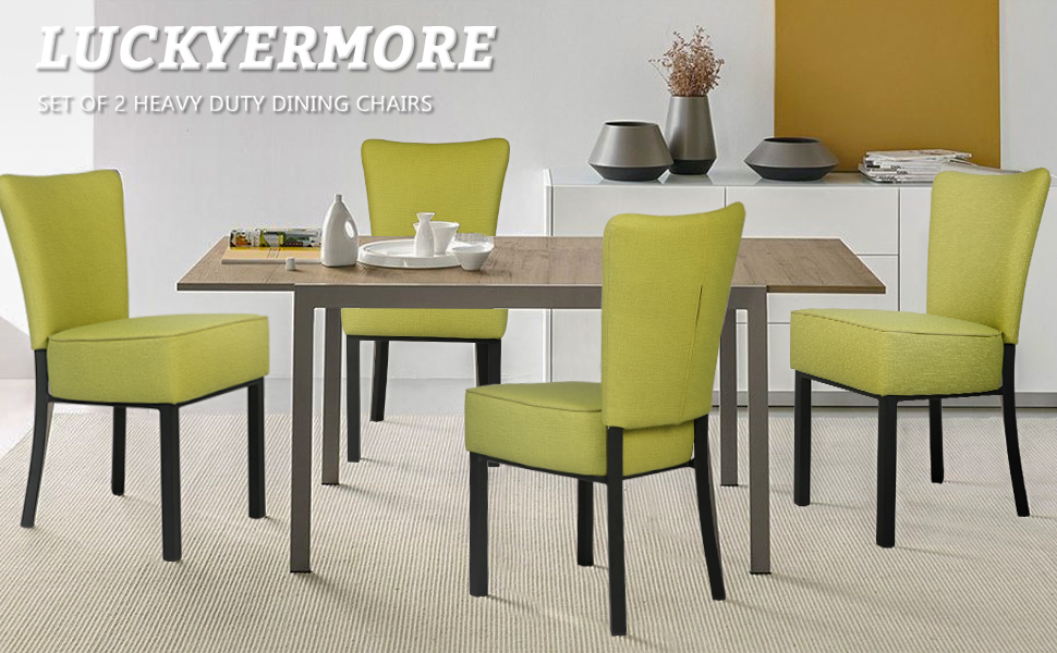 LUCKYERMORE Soft Vinyl Dining Chairs Set of 2