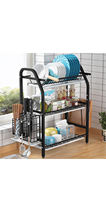 Over Sink Dish Drying Rack, Loyalfire 2 Tier Stainless Steel Storage Expandable Kitchen Dish Rack