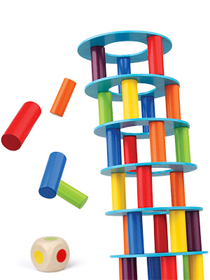 Colored Wooden Blocks Stacking Board Games for Kids Ages 4-8