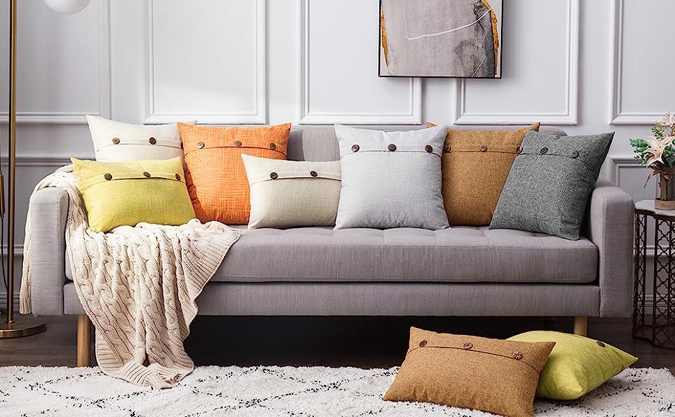 farmhouse linen pillow covers chartreuse beige button vintage brown burnt orange fall decor