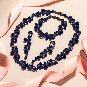 blue party bride ball earrings sets