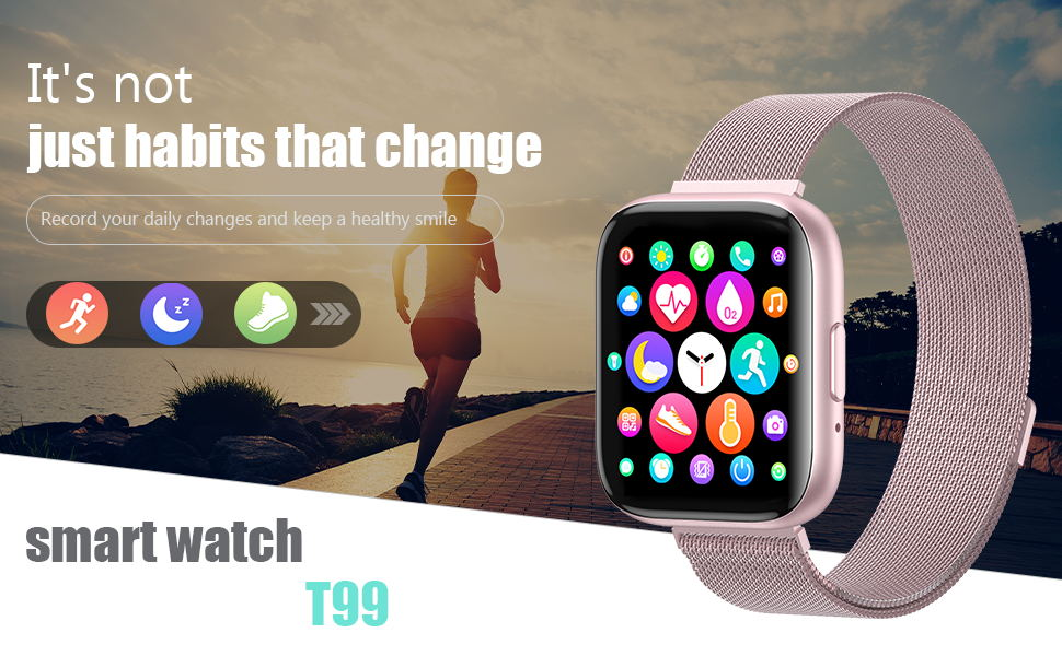 T99 pink sports smart watch