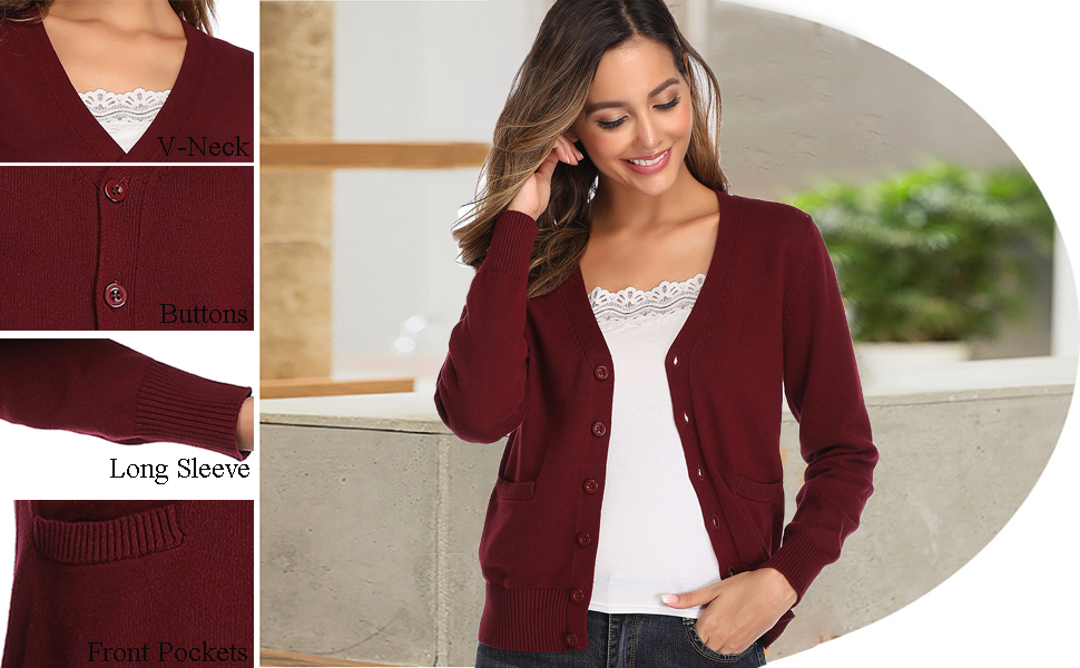 Women's V Neck Long Sleeve Button Down Sweater Cardigan Soft Stretch Knit Cardigan Sweater with Pockets