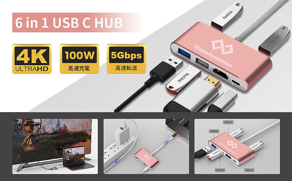 Dataluminus 6 in 1 USB C hub