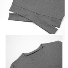 waist cross and crew neck crop top