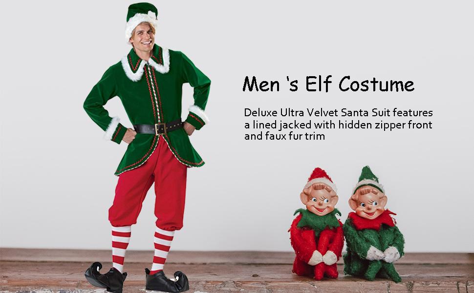 SANTA BUDDY THE ELF DELUXE  ADULT MENS COSTUME Christmas  Holiday MEDIUM