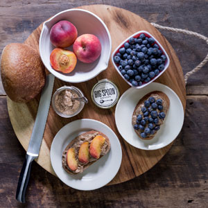 Nut Butter with fruit and toast