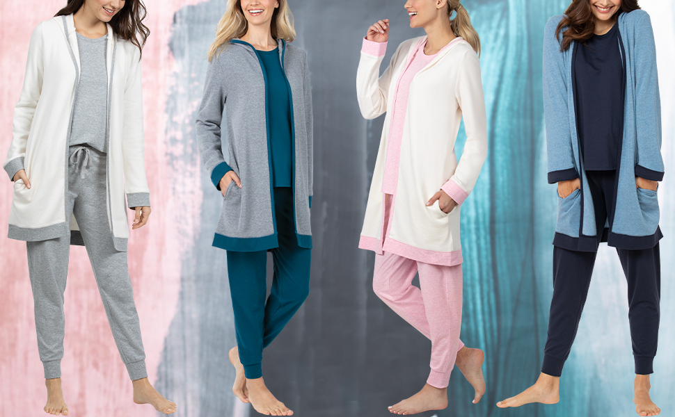 three models standing with watercolor background showing the three piece pajama lounge set
