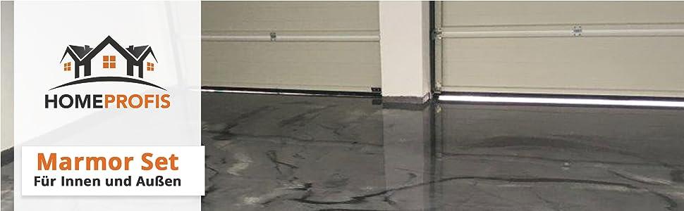 Komplett Set Home Profis Hpbi 500 Epoxidharz Marmor Optik Bodenbeschichtung Innen 20m Epoxy Garage Werkstatt Keller Badezimmer Bodenfarbe Fliesenfarbe Amazon De Baumarkt