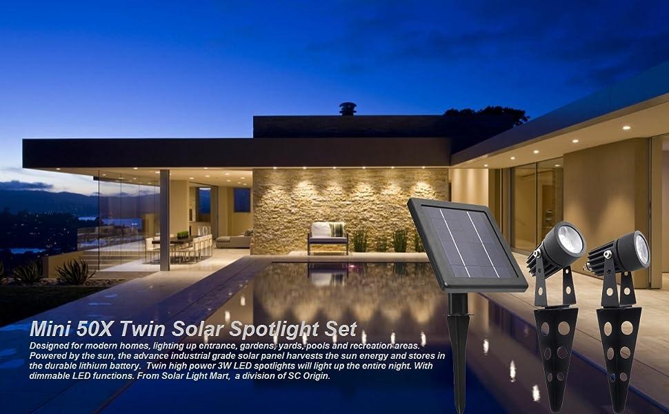 Mini 50X Twin Solar Spotlight Set
