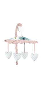 Navy Blue and Pink Watercolor Floral Girl Baby Nursery Musical Crib Mobile
