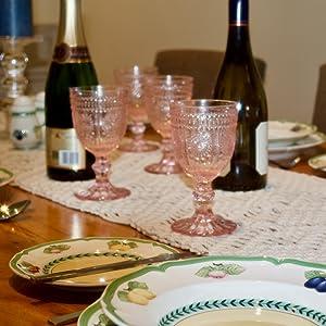 Pink wine glass vintage champagne glass pink water goblet pink goblets pink glassware set of 4
