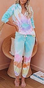 Women Tie Dye Sweatsuit Long Sleeve Pullover Sweatpants 2 Pcs Lounge Jogger Set