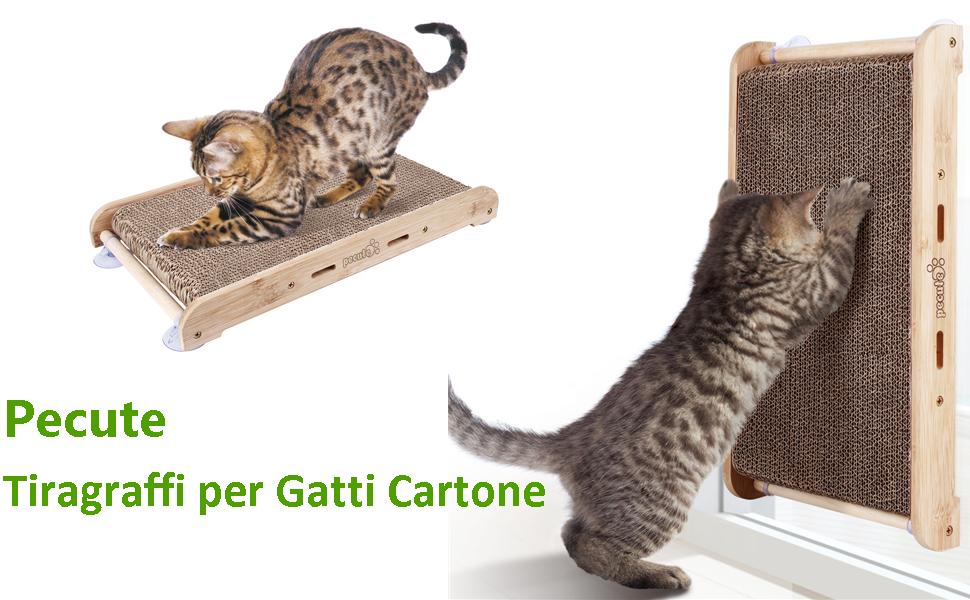 Pecute Tiragraffi per Gatti Cartone Ondulato con 4 robuste Ventose 43 * 23.8 * 5 cm