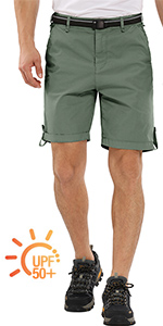 men's hiking shorts with multi pockets quick dry elastic waist lightweight breath cargo shorts