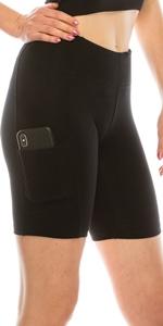 Biker Shorts with Pocket for Women, High Waist Athletic Yoga Shorts