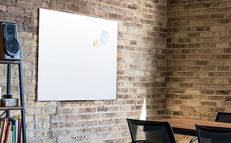 Amazon Com Wall Mounted Glass Board With Marker Tray Dry Erase Marker Eraser And Two Magnets 40 X 30 White Office Products