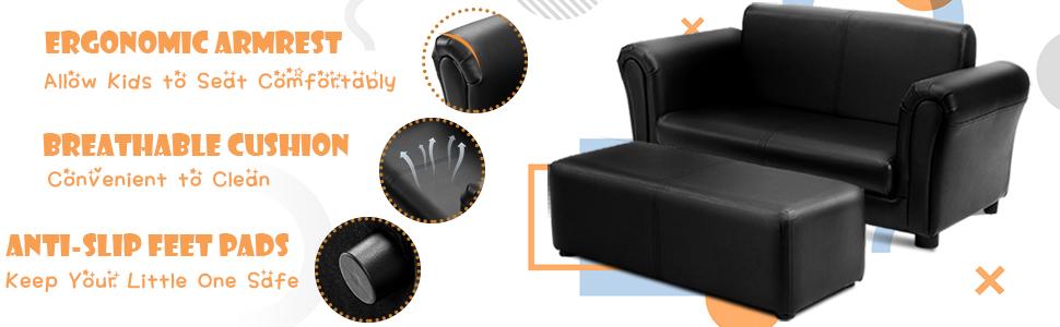 details of this children sofa, ergonomic armrest, sofa cushion, anti-slip feet pads