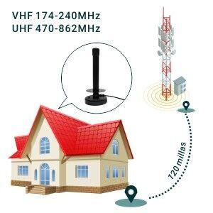 August DTA250 Antena de Alta Ganancia TDT: Antena Portátil Interior/Exterior para Receptor TDT USB / Televisión DVB-T / Radio DAB.