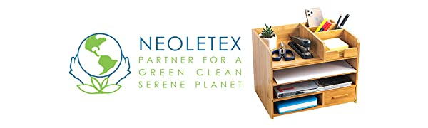 Neoletex Logo  Bamboo Desktop Organizer | Home Office Bamboo Desk Drawer Organizer – 4 Tier Durable Wood Table Top Storage for Pencils, Notepads, Documents & Office Supplies 2512f61c 60c9 4af1 ac2a cdf6422f69a7