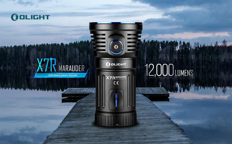 6 Leuchtmodi Aufladbare Taschenlampe mit USB-C Anschluss Taschenlampen mit 380 Metern Leuchtweiter OLIGHT X7R Marauder LED Taschenlampe 12000 Lumen 4*18650 3000mAh Akku enthalten