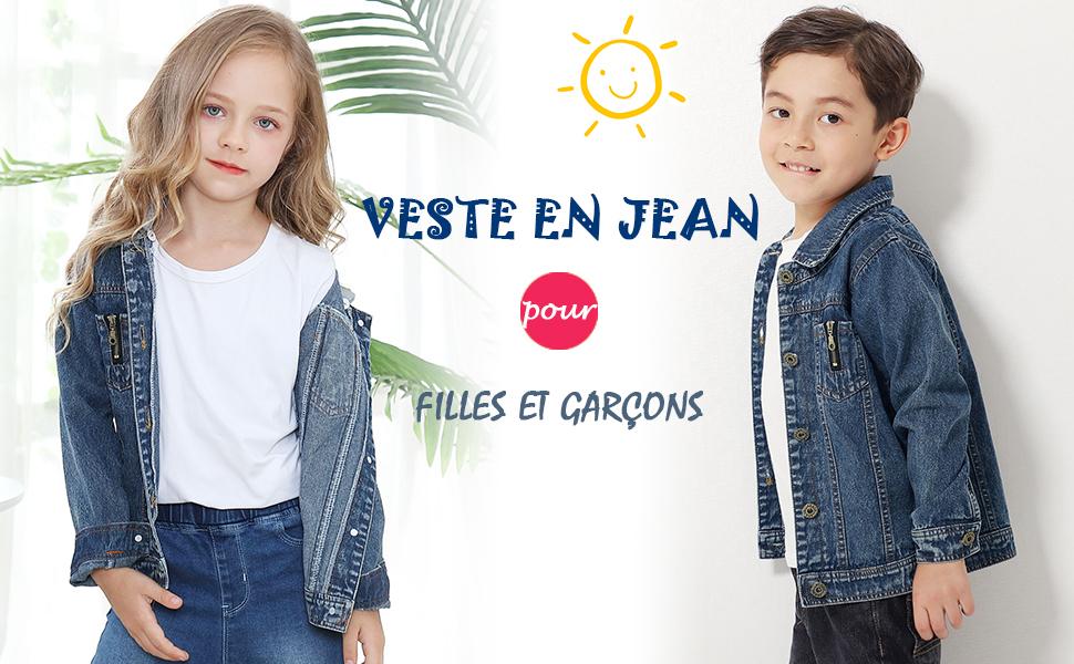 Enfants Filles Denim Veste Style /Étiquetage Casual Blouson en Jean