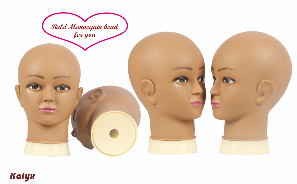 Kalyx Bald Mannequin Head for Wigs Making Sunglasses Display,Hat Display Brown Professional Cosmetology Bald Manikin Head