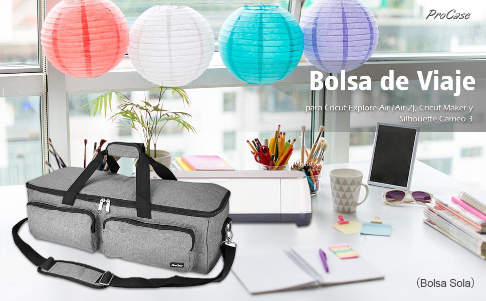 ProCase Bolsa de Viaje para Troqueladora Cricut Explore Air/Cricut Maker, Bolso Almacenamiento de Accesorios Troquel, Compatible con Cricut Explore Air 2/Silhouette Cameo 3 (Bolsa SIN Equipo) -Gris: Amazon.es: Electrónica