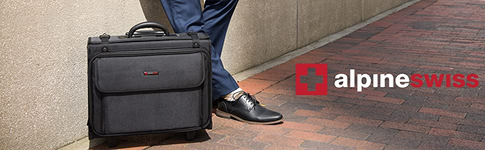 rolling briefcase lawyer pilot teacher carry all wheeled work bag catalog case carry on