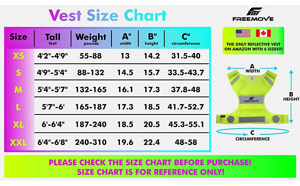 FREEMOVE reflective vest size chart sizing extra small medium large extra large XS S M L XL XXL