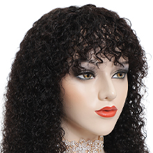 curly wig with bangs human hair wigs with bangs wig with bangs for black women human hair bangs wig