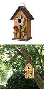 10.24''H Distressed Solid Wood Birdhouse w/Flower
