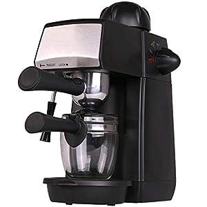 Grunkel - CAFPRESO-H5 PRES - Cafetera espresso con presión de 5 bares para 4 tazas (240 ml). Incluye jarra de cristal y sistema espumador - 870W - Negro y acero inoxidable: Amazon.es: Hogar