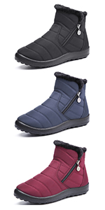 omens Snow Boots, Waterproof Ladies Winter Shoes, Thermal Fur Lined Warm Mid-Calf Boots