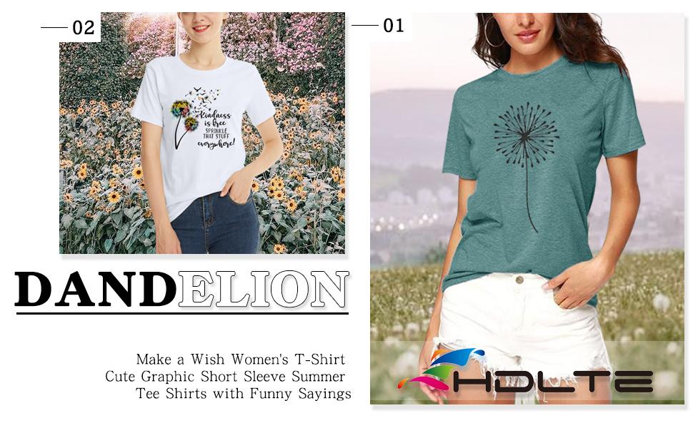 Casual Dandelion Make a Wish Women's T-Shirt Cute Graphic Short Sleeve Tee Shirts Funny Sayings