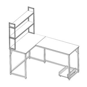 computer desk and bookshelf