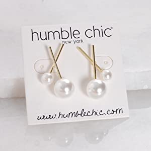Simulated Pearl Earrings for Women - 14K Gold Plated X-Shaped Faux Pearl Ear Studs, Hypoallergenic