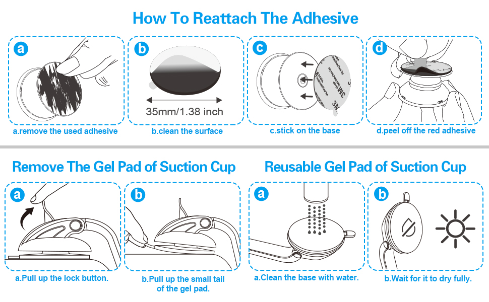 rinsible gel pad of suction cup & sticky adhesive replacement for socket