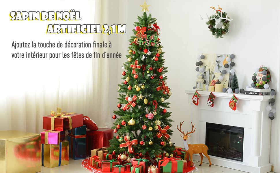 Homcom Sapin De Noel Artificiel O 91 X 210h Cm 865 Branches Epines Imitation Nordmann Grand Realisme Vert